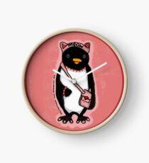 Pink Kitty Penguin Clock
