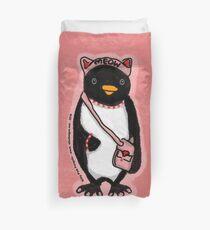 Pink Kitty Penguin Duvet Cover