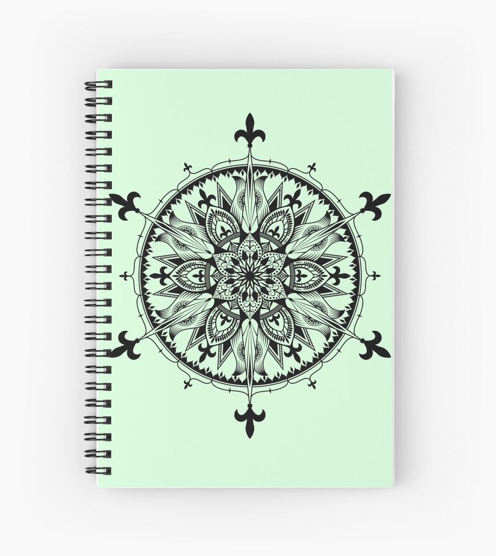 Fleur De Lys Mandala Spiral Notebooks By Swanstardesigns Redbubble