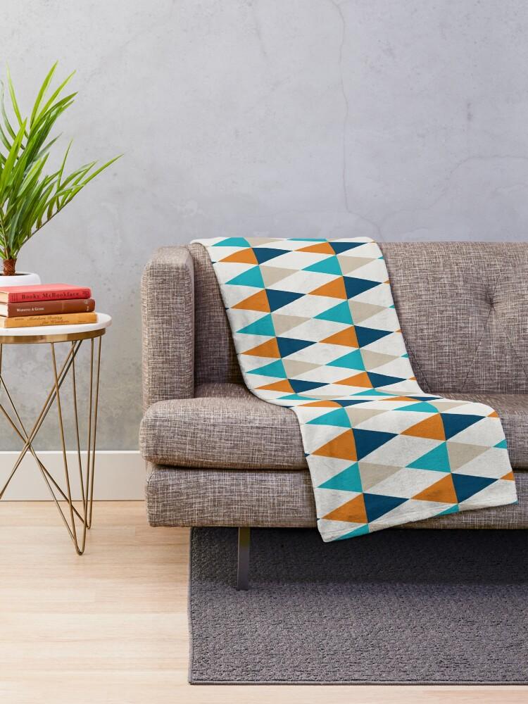 Alternate view of Geometric Pattern: Harlequin: Blue/Orange Throw Blanket