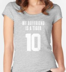 MY BOYFRIEND IS A  TIGER Women's Fitted Scoop T-Shirt