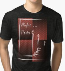 Illustration of a boulevard in Paris at night. For t-shirt or other uses,in vector - stock vector Tri-blend T-Shirt