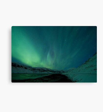 Green Sky over Hvalfjordur Canvas Print