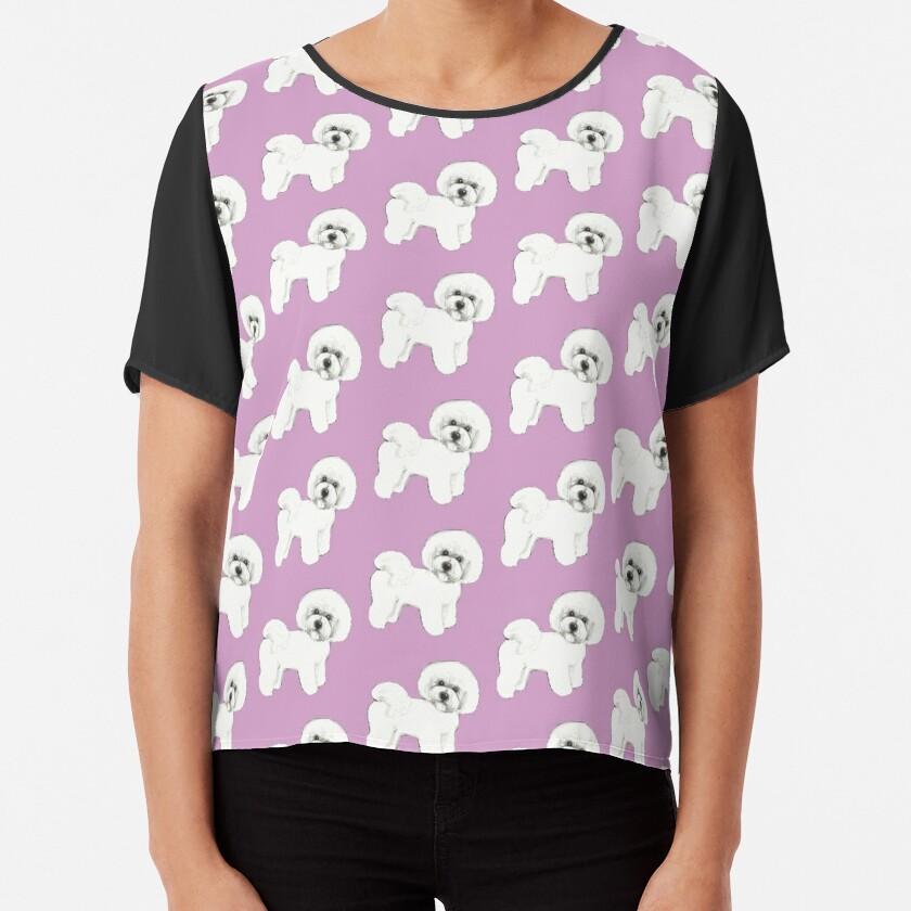Bichon Frise Dogs on lilac, purple Chiffon Top