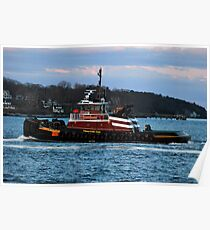 Tractor Tug headed back into Portland Harbor Poster
