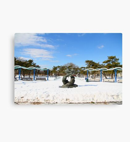 South Beach in the Snow Canvas Print
