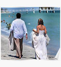 Wedding Dress, Beach Walking Poster