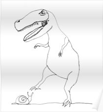 snail & T-Rex Poster