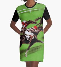 Vintage horse racing sport and travel advert Graphic T-Shirt Dress