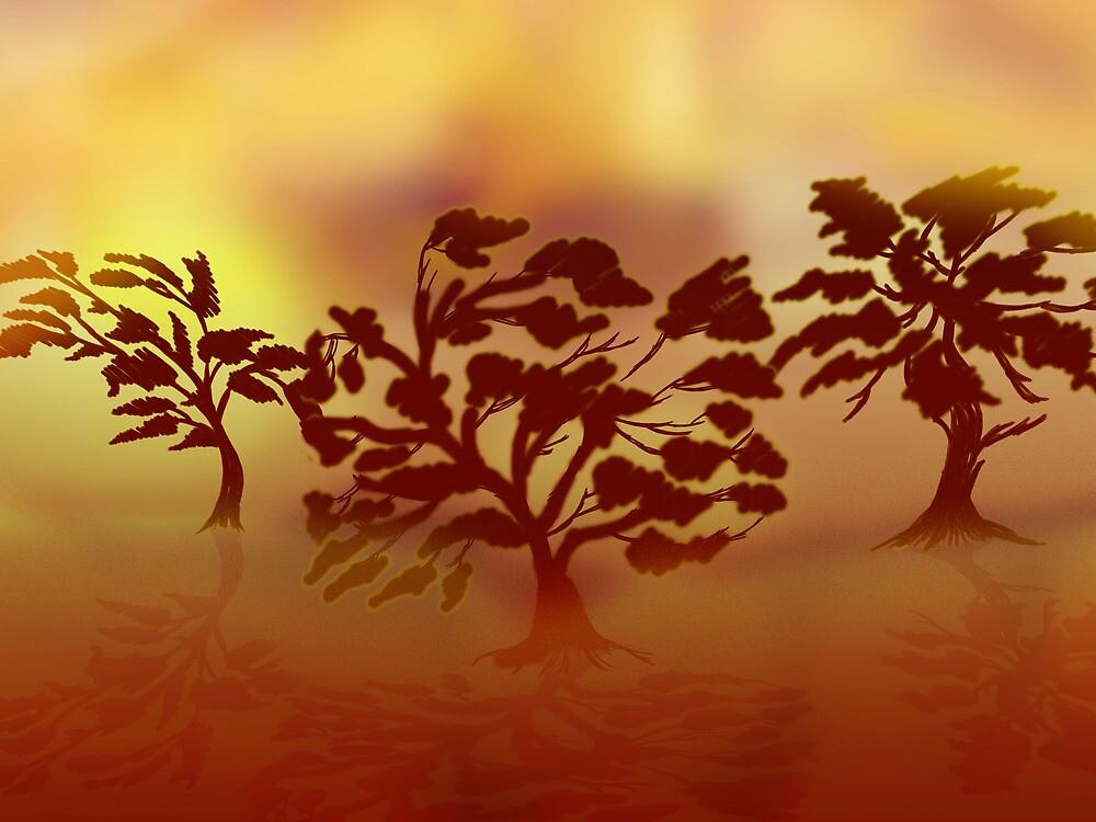 Golden mist tree-line by Grant Wilson