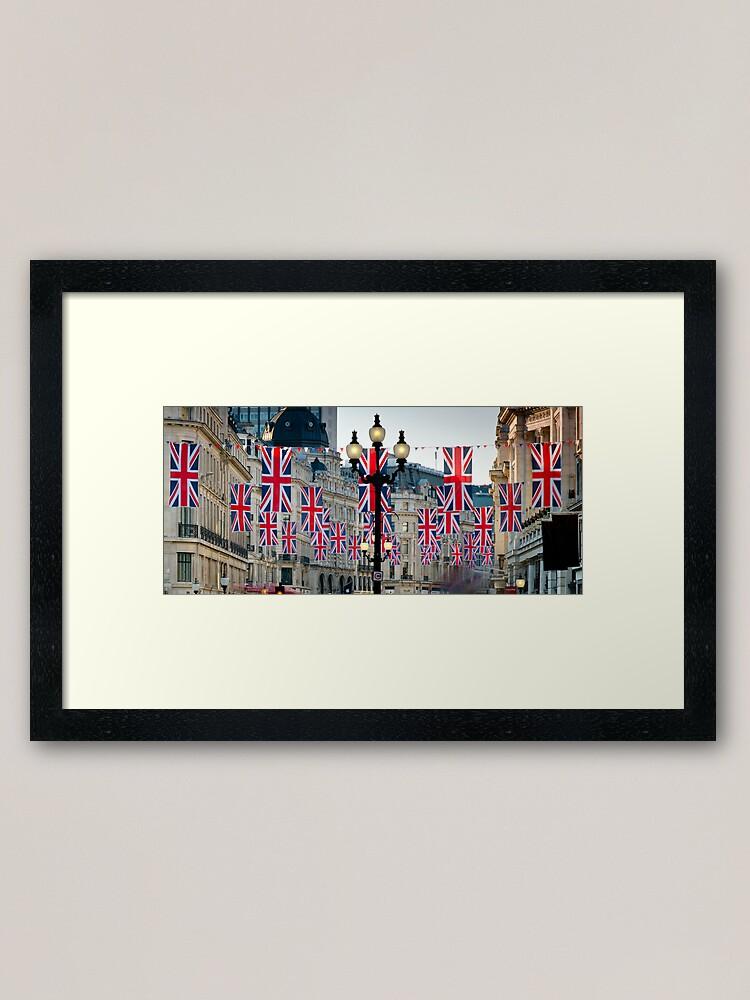 Alternate view of UK. London. Regent Street. Union Jack decorations for Royal Wedding. Framed Art Print