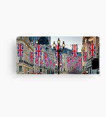 UK. London. Regent Street. Union Jack decorations for Royal Wedding. Canvas Print