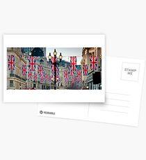 UK. London. Regent Street. Union Jack decorations for Royal Wedding. Postcards
