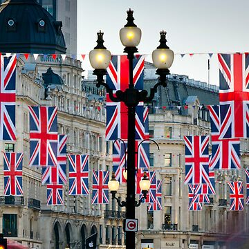 UK. London. Regent Street. Union Jack decorations for Royal Wedding. by AlanCopson