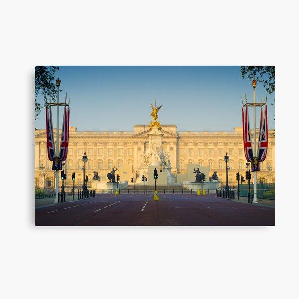 UK. London. Buckingham Palace. Union Jack decorations for Royal Wedding. Canvas Print