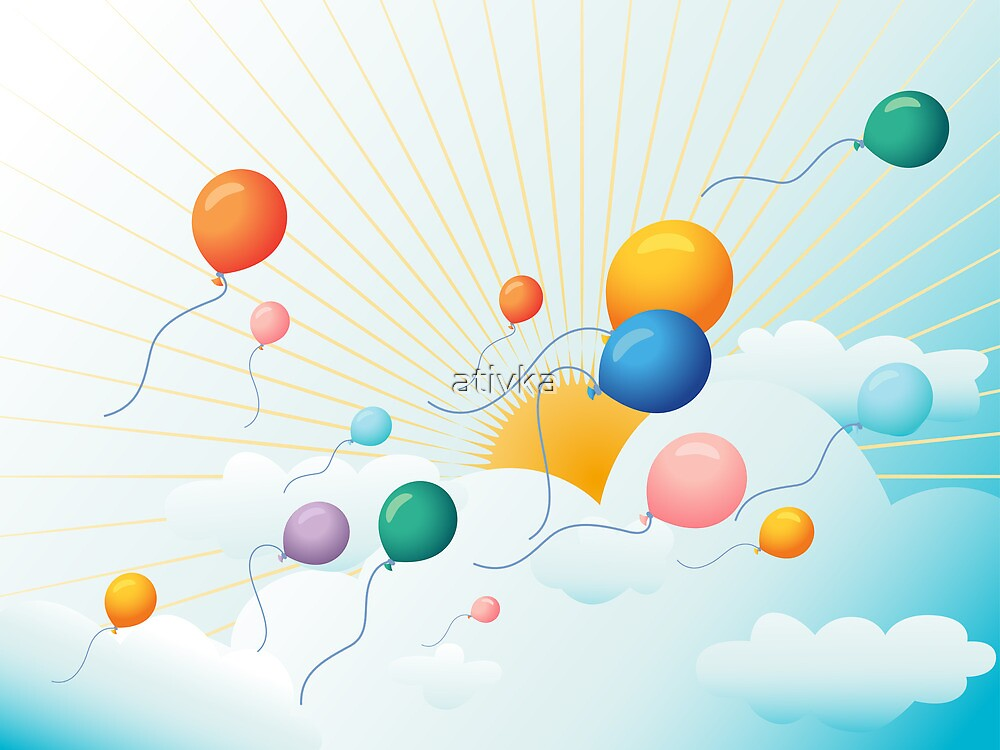 Balloons flying in the sky  by ativka