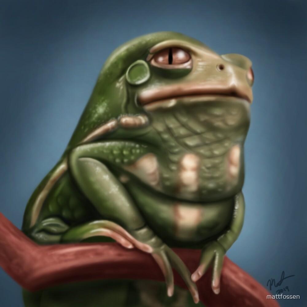 Grumpy Frog by mattfossen
