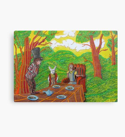 337 - THE MAD HATTER'S TEA PARTY - DAVE EDWARDS - COLOURED PENCILS - 2011 Canvas Print