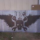Motorcycle shop ceiling mural by Requiem