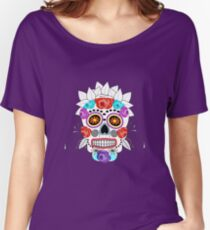 Fun Bright Trendy Sugar Skull Women's Relaxed Fit T-Shirt