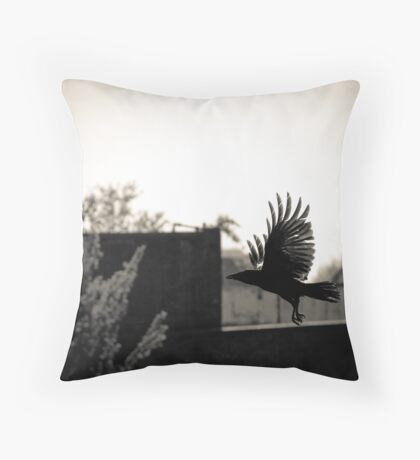 To hatch a crow, a black rainbow... Throw Pillow