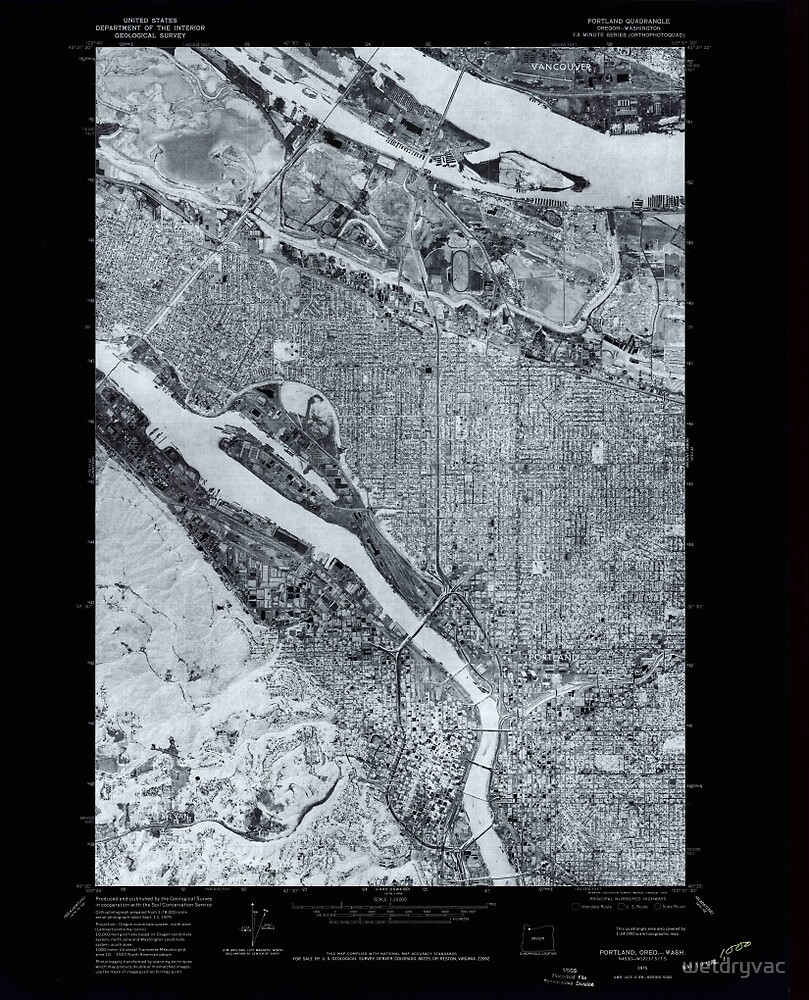 USGS Topo Map Oregon Portland 281135 1975 24000 Inverted by wetdryvac