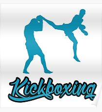 Kickboxing Man Jumping Back Kick Blue Poster