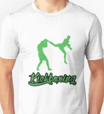 Kickboxing Man Jumping Back Kick Green  T-Shirt