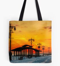 Boardwalk Winter Sunset Tote Bag