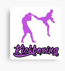Kickboxing Man Jumping Back Kick Purple  Canvas Print