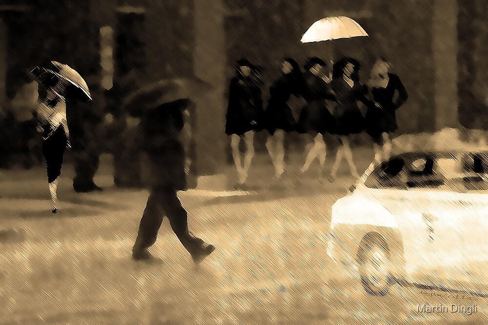 People in the rain  by Martin Dingli