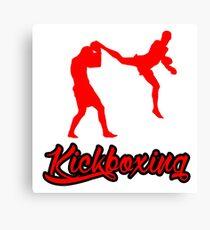 Kickboxing Man Jumping Back Kick Red  Canvas Print