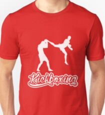 Kickboxing Man Jumping Back Kick White  T-Shirt