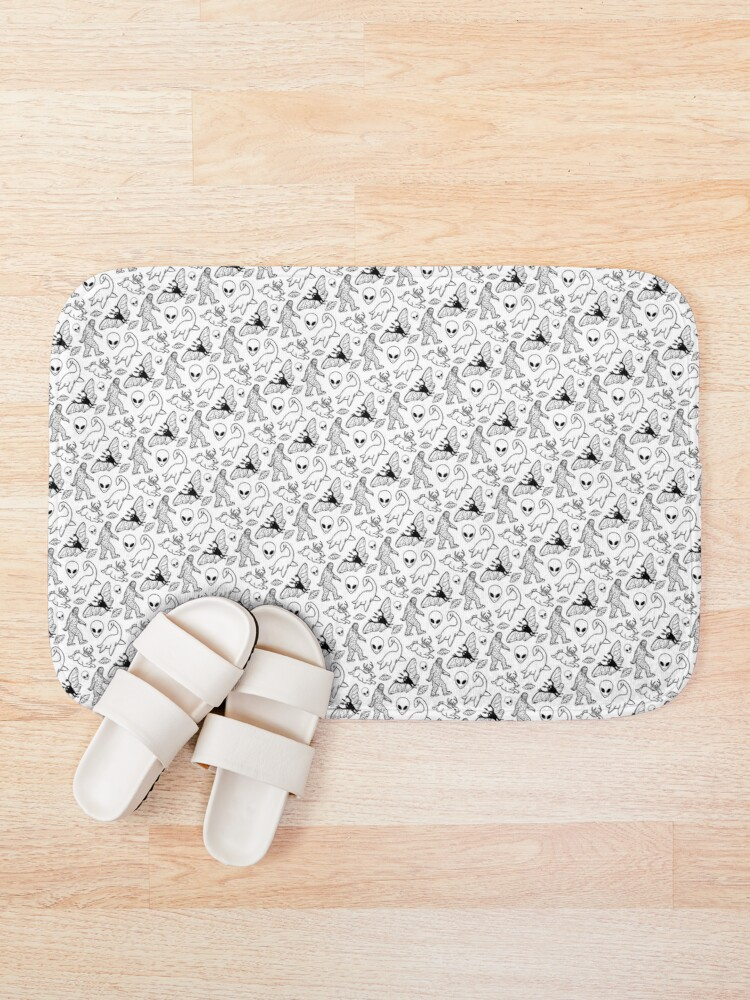 Alternate view of Cryptid Pattern (White Background)  Bath Mat