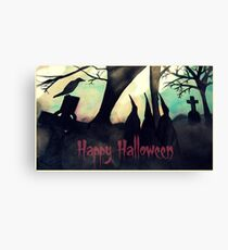 Three Witches Halloween Greetings Card Canvas Print