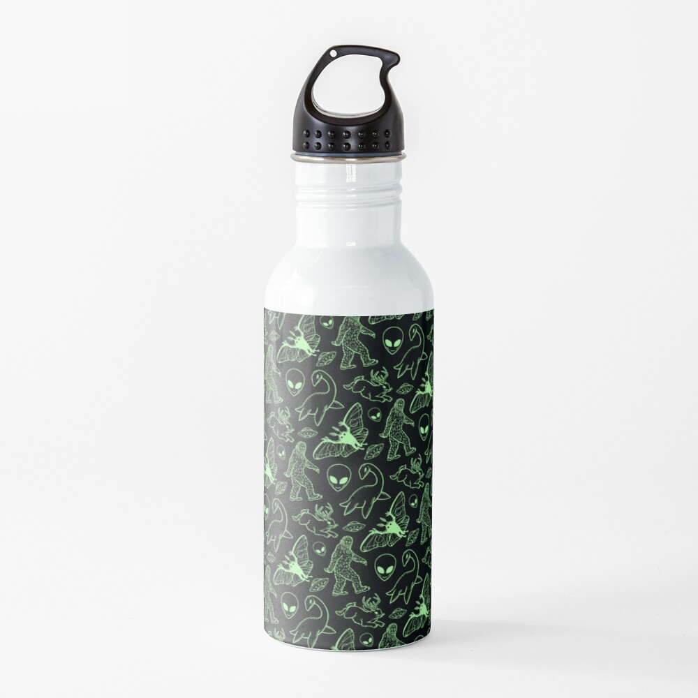 Cryptid Pattern (Green Lines) Water Bottle