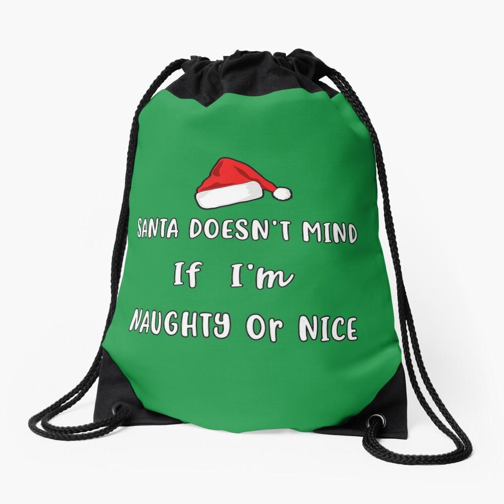 Santa Doesn't Mind Christmas Pajama Clothing Co. Drawstring Bag