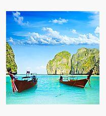 Longtail boats at Maya bay Photographic Print