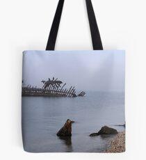 Shipwreck and fog Tote Bag