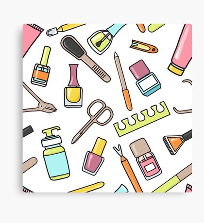Pattern of manicure and pedicure doodle equipment. Nail art Canvas Print