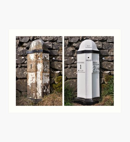 Old mile post - Kendal Art Print