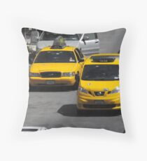 Yellow NYC Cabs Throw Pillow