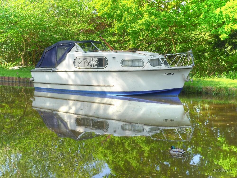 """""""Jemima & a Duck"""" - Boat on the Wey Navigation Canal by acolleau"""