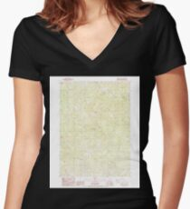 USGS Topo Map Oregon Grizzly Peak 280107 1988 24000 Women's Fitted V-Neck T-Shirt