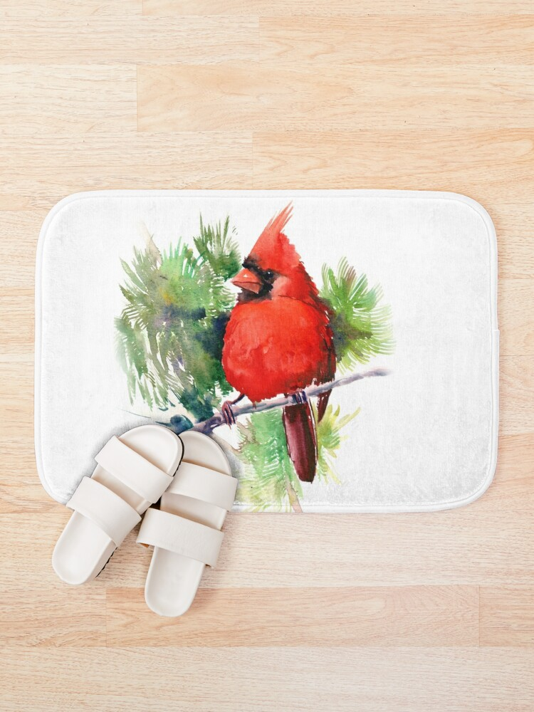 Alternate view of Red Cardinal Bird Bath Mat