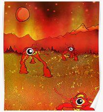 Walking tripods on Mars Poster