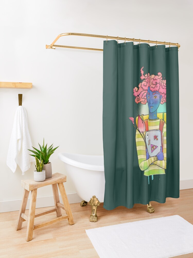 Alternate view of Pink curls colorful, happy illustration Shower Curtain