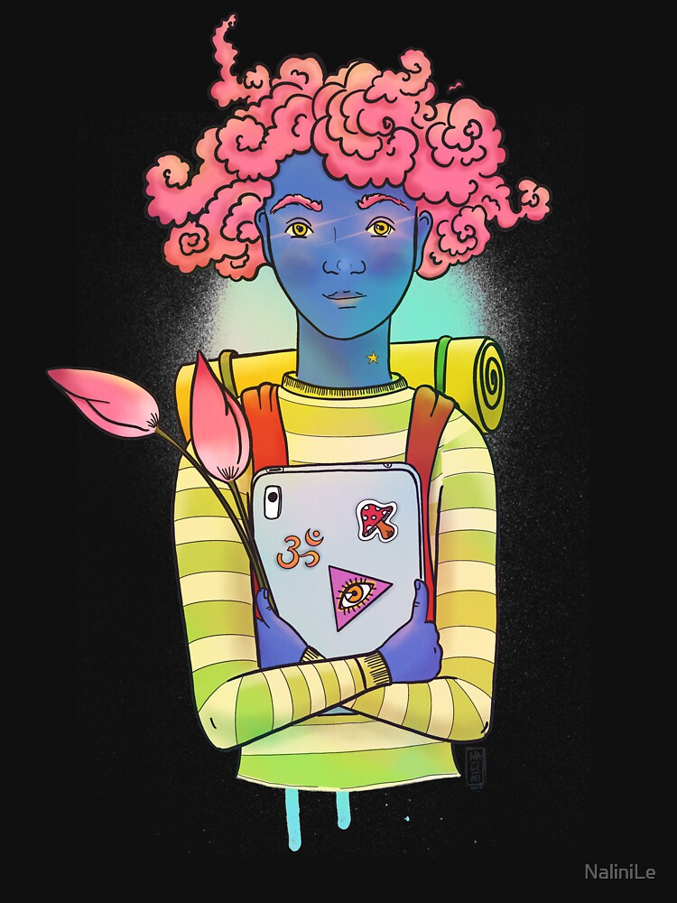 Pink curls colorful, happy illustration by NaliniLe