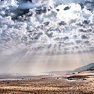 Heavenly Rays at Sandsend Beach by Sandra Cockayne