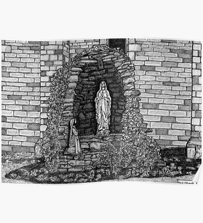 202 - LOURDES GROTTO, ST WILFRID'S CHURCH, BLYTH - DAVE EDWARDS - INK - 1997 Poster